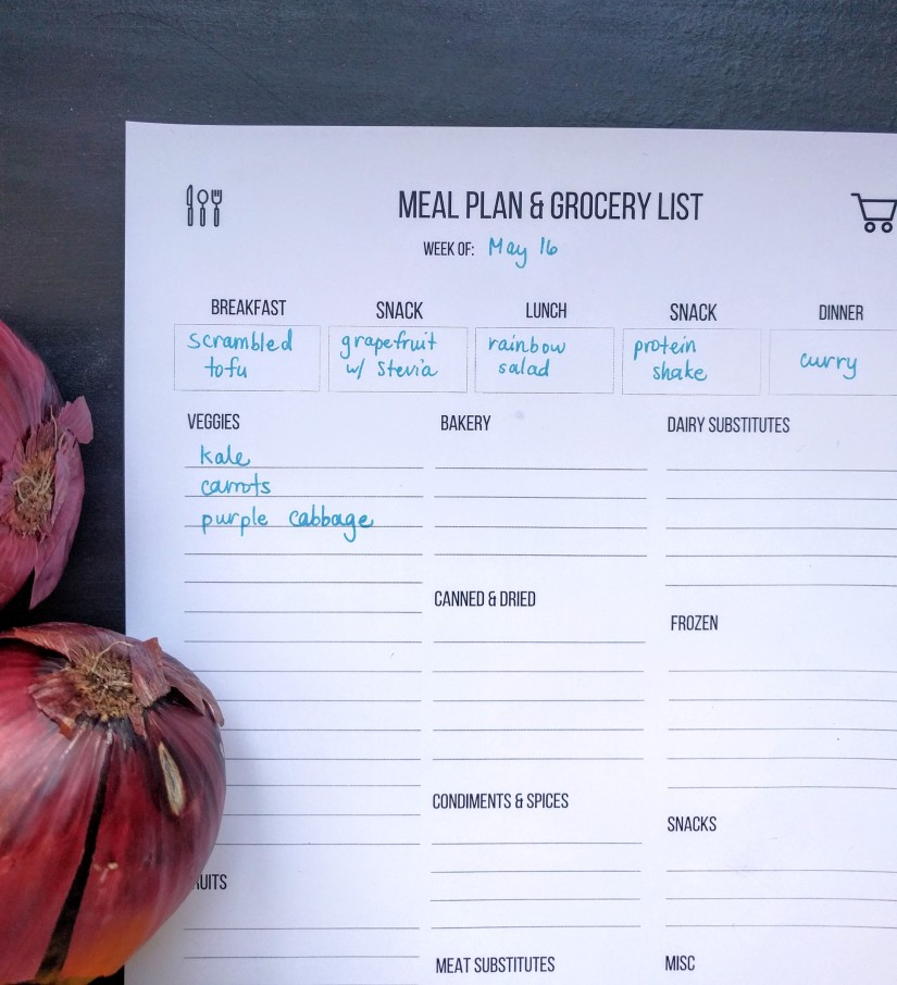 Meal planning & grocery list template