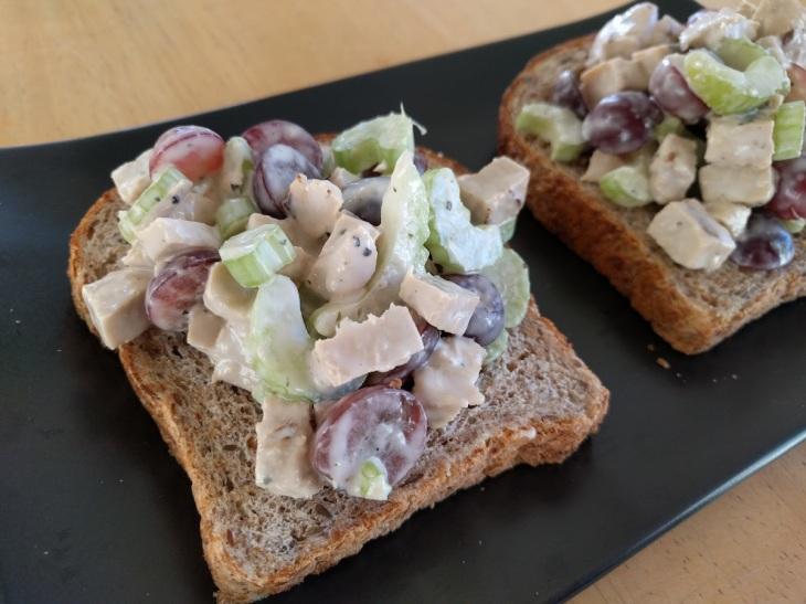 Vegan chicken salad open faced sandwich